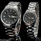 30M Waterproof Mens Womens Calendar Stainless Steel Quartz Analog Wrist Watch UK
