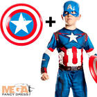 Captain America + Shield Boys Superhero Fancy Dress Kids Childs Avengers Costume