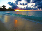 BEACH SUNSET KAUAI HAWAII HAWAIIAN OCEAN GOLDEN SANDS DECOR CANVAS ART PRINT