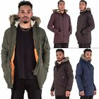 New Men Fur Hooded Zip Winter Pockets Casual Jacket Padded Coat Size S M L XL