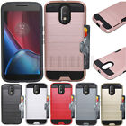 Heavy Duty Hybrid Armor Card Pocket Case Rubber Cover For Motorola Moto G4 Plus
