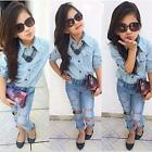 2Pcs Toddler Baby Girls Kids Dress T-shirt Tops+ Denim Pants Clothes Outfits Set