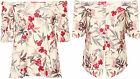 Womens Off Shoulder Open Back Top Ladies Bardot Floral Print Short Sleeve 8-14