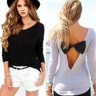Women Sexy Backless Bow Blouse Casual Long Sleeve Loose T Shirt Tops Plus Size W