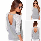 Ladies Long Sleeve Shirts Casual Lace Blouse Loose Cotton Tops T Shirt Fashion