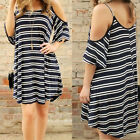 1Pc Black White Striped Off Shoulder Fashion Women Loose Casual T-shirt Dress