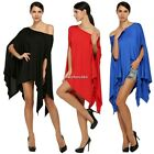 Women Sexy Batwing Sleeve Loose T-shirt Casual Blouse Tops Irregular Hem N4U8