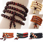 Multilayer Wooden Beaded Bracelet Elastic Bangle Men Women's Fashion Jewelry 1pc