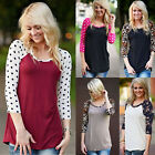 PLUS Women 3/4 Sleeve Casual Patchwork T Shirt Loose Blouse Tops Sweaters S-XL