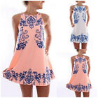 2016New Hot Party Cocktail Mini Dress Boho Reto Porcelain Print Sundress