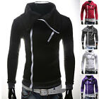 Men's Korean Style Cotton Blends Slim Fit Casual Hooded Overcoat Hoodies Top NEW