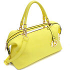 Gold Tone Frame Shoulder Bag Satchel Classic Leather Handbag with Dasein Emblem