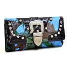 New Camo Trifold Purse Crocodile Leather Wallet Handbag Bag w/ Rhinestone Buckle