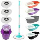 360° Floor Magic Spin Mop Bucket Set Microfiber Rotating Dry Heads With 3 Heads