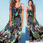New Sexy Women Flower Print Long Maxi Boho Spaghetti Straps Beach Dress Sundress
