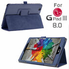 PU Leather Folio Slim Flip Stand Protective Case Cover for LG G Pad 3 8.0/X 8.0