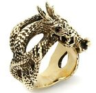JAPANESE DRAGON GOLD BRASS BRONZE BIG BIKER RING