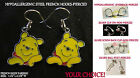 Bear Pooh Earrings *OPTIONS* Hypoallergenic Pierced OR Clip On