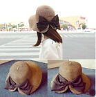 Girl's Beach Vocation  Elegant bow visor hat straw hat for Holiday Korea Style