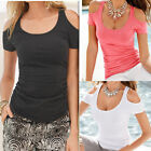 Plus Size Womens Summer Sexy Off Shoulder T-shirt Blouse Beach Casual Slim Tops