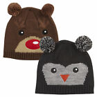 2 Pack Boys Novelty Animal Winter Beanie Hat Kids Bobble Cute Beanie Cap Hat