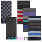 Mens Striped Winter Scarf Mens Wooley Long Scarf Mens Thermal Stripe Check Scarf