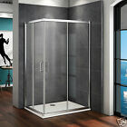 Aica Offset Corner Entry Shower Enclosure Tray Walk in Glass Cubicle Screen Door