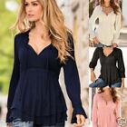 New Womens Chiffon Loose Tops Long Sleeve Shirt Casual Blouse T-Shirt Size 6-14