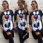 New Summer Women Casual Loose Cartoon Dress Short Sleeve Tunic Shirt Dress