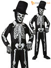 Boys Skeleton Suit Bond Jumpsuit Bone Costume Halloween Fancy Dress Kids Outfit