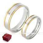 Men Women Stainless Steel CZ Gem Couple Lover Wedding Engagement Ring Band Gift