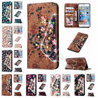 For iPhone Samsung 3D Flower Crystal Design Leather Case Cover Skin + Free Strap