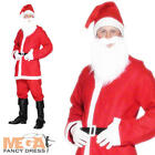 Father Christmas Fancy Dress Santa Claus Suit Mens Xmas Costume Outfit + Beard