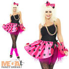 Neon Pink Tutu Kit 1980s Fancy Dress Ladies Costume 80s Womens Outfit UK 8-16