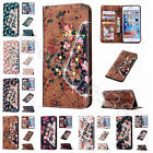 For Various Smart Phones Floral Flower Magnetic Closure Leather Case Cover+Strap