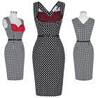 Womens 1950S Vintage Dots/Swallow Grid Print Party Cocktail Sheath Bodycon Dress
