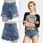 Women Ripped Hole High Waisted Short Europe Mini Jeans Denim Hot Pants Shorts
