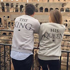 THE KING OR HIS QUEEN Print Couples Sweatshirts Long Sleeve Hoodies Jumper