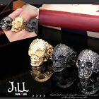 Punk visual heavy Rock witch doctor skull amulet titanium steel ring J1A601