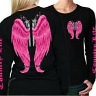 Country Life Outfitters Wings Guns Vintage Black Pink Long Sleeve Bright T Shirt