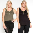 TheMogan Women's Plus Size Zip Front Scoop Neck Casual Jerse