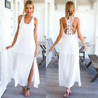 Summer Style Elegant Women Long Beach Dresses Casual #B White Lace Maxi Dress