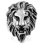 Men's Biker Black Silver Stainless Steel Lion Ring Size7-15 Gift New
