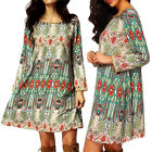 Lady Women Boho Floral Print Casual Short Dress Party Long Sleeve Mini Dress