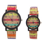 Mens Womens Fashion Patchwork Leather Strap Lovers Couples Casual Quartz Watch