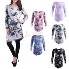 Womens Long Sleeve Flare Tunic Top Tie Dye Asymmetric Handkerchief Hem Shirt