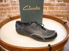 Clarks Viola Navy Blue Leather Topstitch Lace-up Shoe NEW