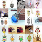 CHIC Women Silver Owl Rhinestone Crystal Pendant Necklace Sweater Chain Jewelry