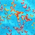 TIFFANY BUTTERFLY SKY BRIGHT BLUE GILDED CRAFT QUILT FABRIC Free Oz Post