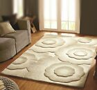 Natural Beige Hand Carved Embossed Simple Floral Thick Quality Dense Wool Rug UK